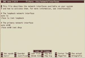 editando /etc/network/interfaces